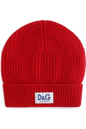 Dolce & Gabbana Logo-patch ribbed-knit beanie