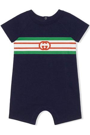 Gucci Monogram-print stripe-detail one-piece