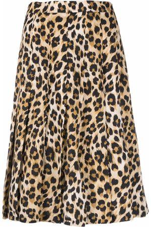 Moschino Women Printed Skirts - Leopard-print pleated skirt