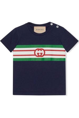Gucci Kids Polo Shirts - Monogram-print stripe-detail polo shirt