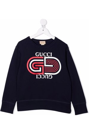 Gucci Boys Sweatshirts - Logo-print crew neck sweatshirt