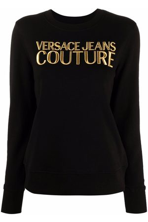VERSACE Women Tops - Embroidered-logo cotton top