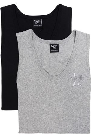 More Joy Set of 2 embroidered logo tank tops