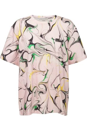 Stella McCartney Women T-shirts - Logo Marble Cotton T-shirt
