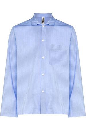 Tekla Men Pyjamas - Pinstriped poplin pajama shirt