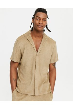 New Look Co-ord towelling short sleeve shirt with revere collar in stone