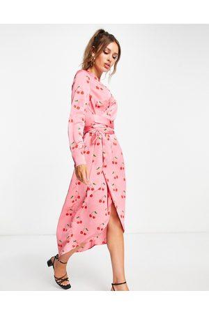 Never Fully Dressed Wrap midi dress in cherry print
