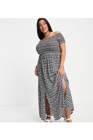Yours Shirred detail bardot maxi dress in floral