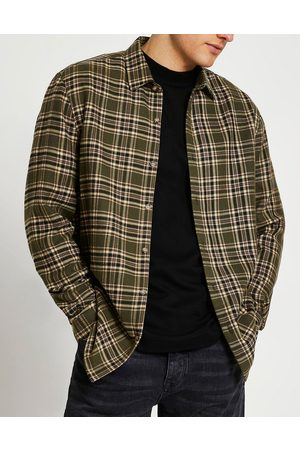 River Island Long sleeve mixed direction check shirt in