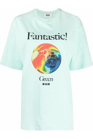 Msgm Women Short Sleeve - Graphic-print organic-cotton T-Shirt