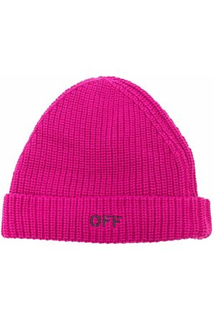 Off-White Kids Girls Beanies - Logo-embroidered ribbed beanie
