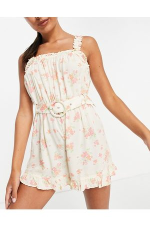 River Island Floral belted playsuit in