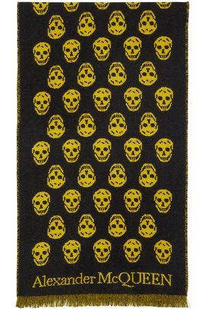 Men Scarves - Alexander McQueen SSENSE Exclusive Reversible Yellow & Skull Scarf