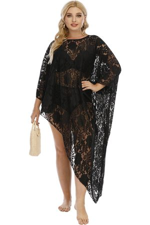 Yoins Plus Size Round Neck Lace 3/4 Length Sleeves Cover-Up