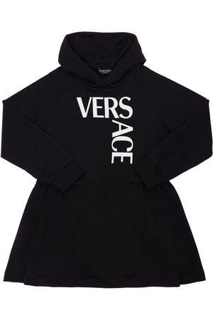 VERSACE Logo Print Cotton Sweat Dress Hoodie