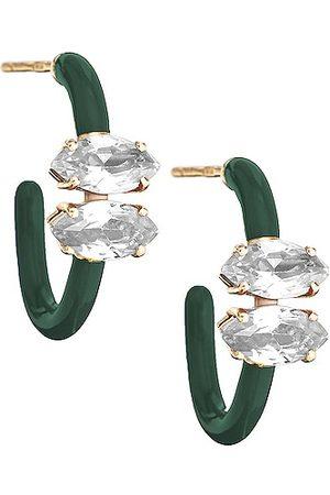 BEA BONGIASCA Marquise Cut Vine Hoop Earrings in Crystal & Emerald