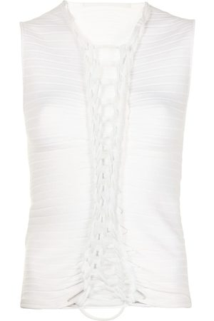 DION LEE Braided sleeveless knitted top
