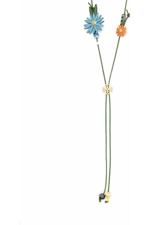 Tory Burch Flower long leather necklace