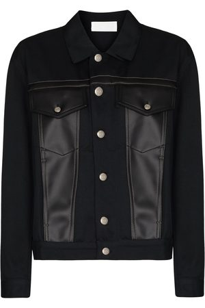 Zilver Panther apple leather-panelled organic cotton jacket