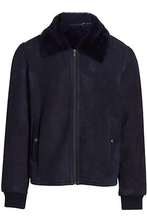 Saks Fifth Avenue Faux Shearling Collar Suede Bomber Jacket