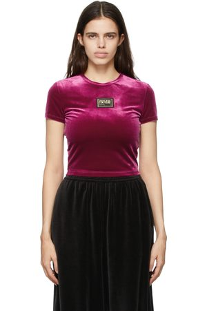 Versace Jeans Couture Pink Velvet Cropped Logo T-Shirt