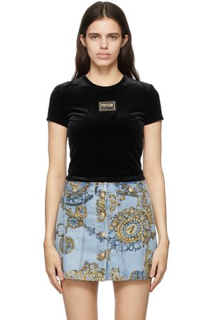 Versace Jeans Couture Velvet Cropped Logo T-Shirt