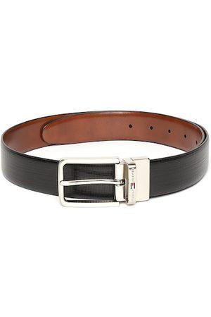 Tommy Hilfiger Men Black & Tan Brown Textured Leather Reversible Formal Belt
