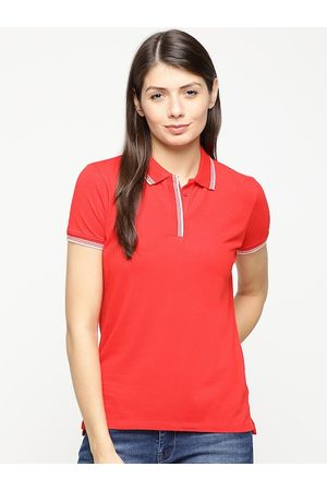 Pepe Jeans Women Red Solid Polo Collar T-shirt
