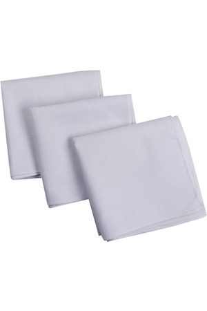 RICHARD PARKER by Pantaloons Men Pack of 3 White Checked Pure Cotton Handkerchiefs