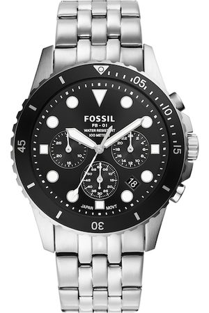 Fossil Men Black Dial & Silver Toned Stainless Steel Bracelet Straps Analogue Watch FS5837