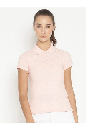METTLE Women Pink Printed Polo Collar T-shirt