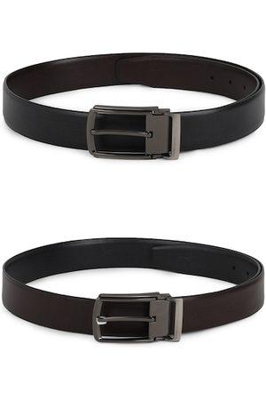 Allen Solly Men Set of 2 Black & Brown Textured Belts