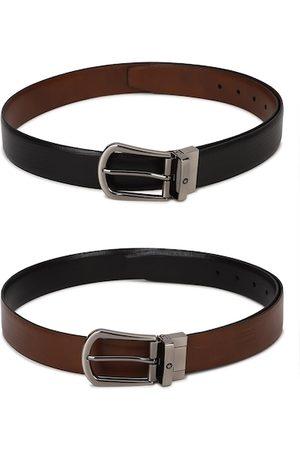 Louis Philippe Men Black Textured 2 Leather Reversible Formal Belt
