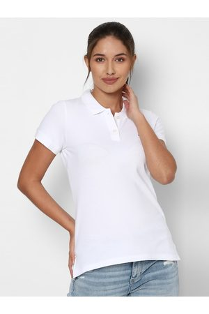 AMERICAN EAGLE OUTFITTERS Women White NA Polo Collar T-shirt NA