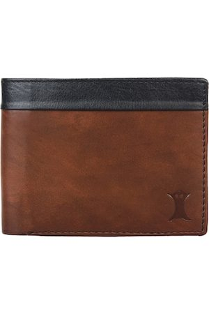 Creature Men Brown & Black Colourblocked Two Fold Wallet