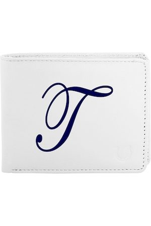 Blacksmith Men White & Navy Blue Typography Printed PU Two Fold Wallet with SD Card Holder
