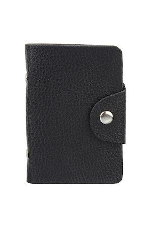 Swiss Design Men Black Textured Leather Card Holder