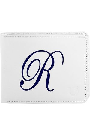 Blacksmith Men White & Blue Graphic Printed PU Two Fold Wallet with SD Card Holder