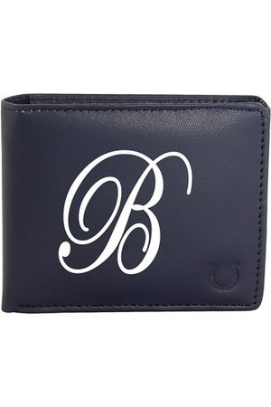 Blacksmith Men Blue & White Typography Printed PU Two Fold Wallet with SD Card Holder