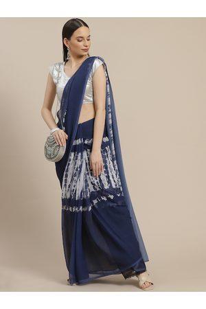 Anouk Navy Blue & Off White Tie and Dye Saree