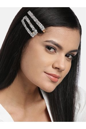 Jewels Galaxy Women Set of 2 Silver-Toned & Gold-Toned Embellished Hair Clips