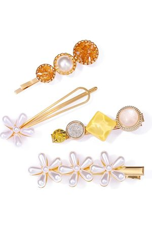 Jewels Galaxy Set of 4 Gold-Toned Beaded Hair Clips