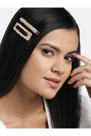 Jewels Galaxy Set of 2 Gold-Toned Embellished Hair Clips