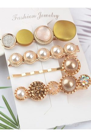 Jewels Galaxy Hair Accessories - Set of 4 Gold-Toned Beaded Hair Clips