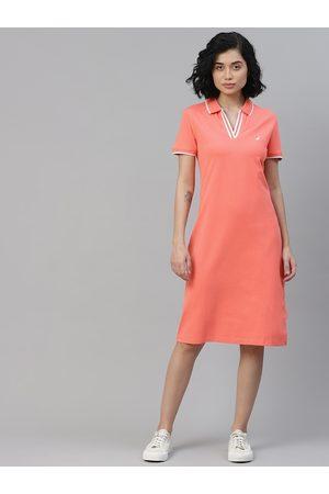 Nautica Women Pink Solid Spread Collar T-shirt Dress