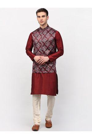 Jompers Men Maroon Ethnic Motifs Dupion Silk Kurta with Pyjamas & Nehru Jacket