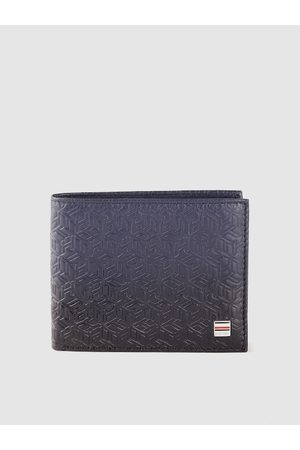 Tommy Hilfiger Men Navy Blue Brand Logo Textured Leather Two Fold Wallet with RFID