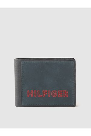 Tommy Hilfiger Men Navy Blue & Red Textured Leather RFID Two Fold Wallet with Embroidery