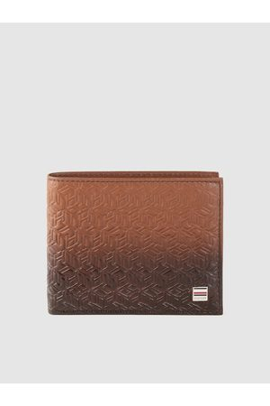 Tommy Hilfiger Men Brown Brand Logo Textured Leather Two Fold Wallet with RFID