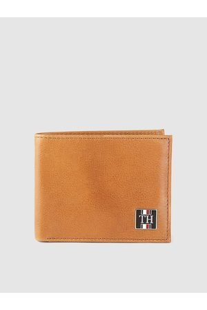 Tommy Hilfiger Men Tan Brown Solid Leather Two Fold Wallet